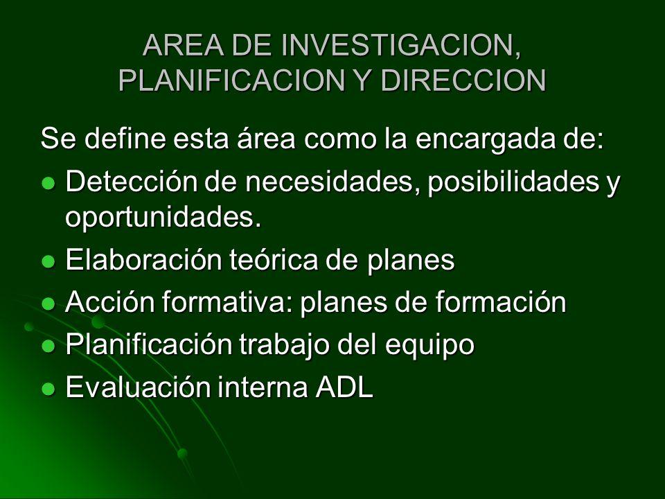 AREA DE INVESTIGACION, PLANIFICACION Y DIRECCION Se define esta área como la encargada de: Detección de necesidades, posibilidades y oportunidades. De