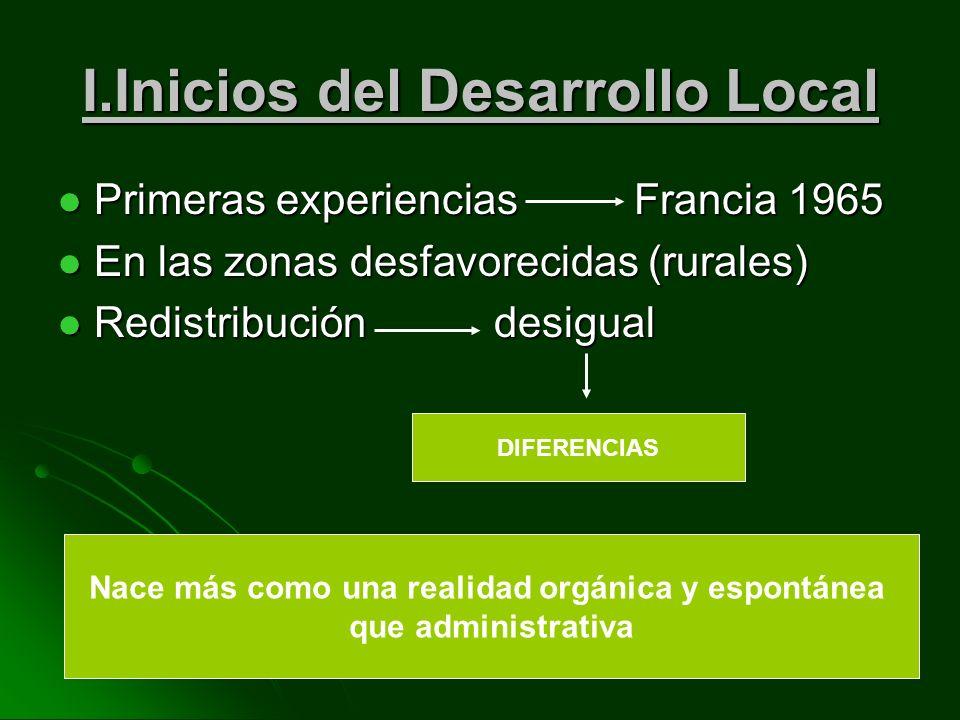 I.Inicios del Desarrollo Local Primeras experiencias Francia 1965 Primeras experiencias Francia 1965 En las zonas desfavorecidas (rurales) En las zonas desfavorecidas (rurales) Redistribución desigual Redistribución desigual DIFERENCIAS Nace más como una realidad orgánica y espontánea que administrativa