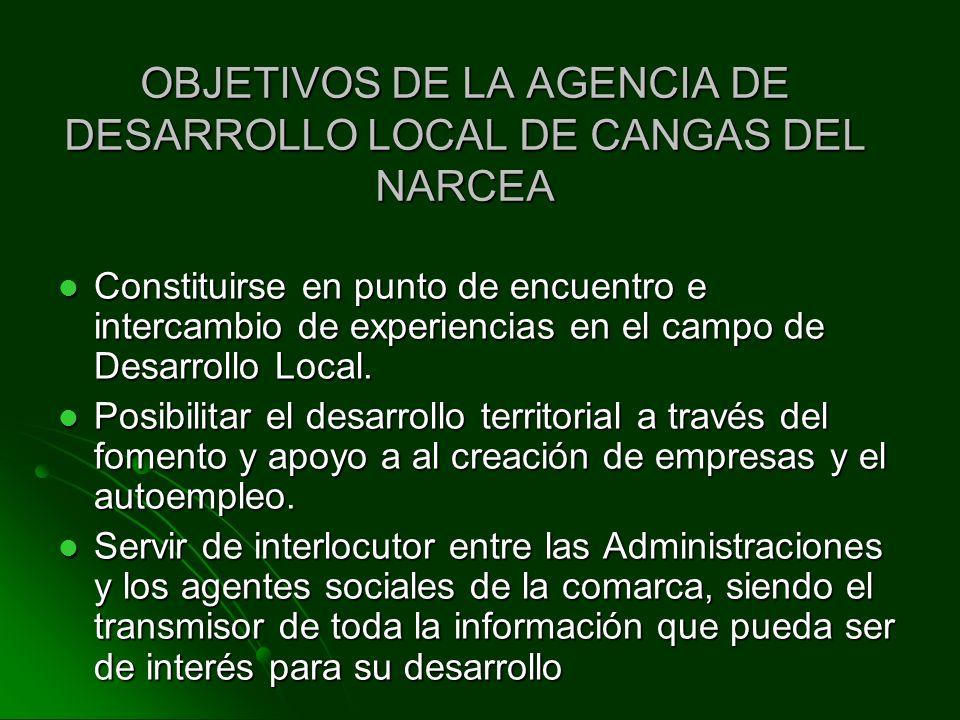 OBJETIVOS DE LA AGENCIA DE DESARROLLO LOCAL DE CANGAS DEL NARCEA Constituirse en punto de encuentro e intercambio de experiencias en el campo de Desar