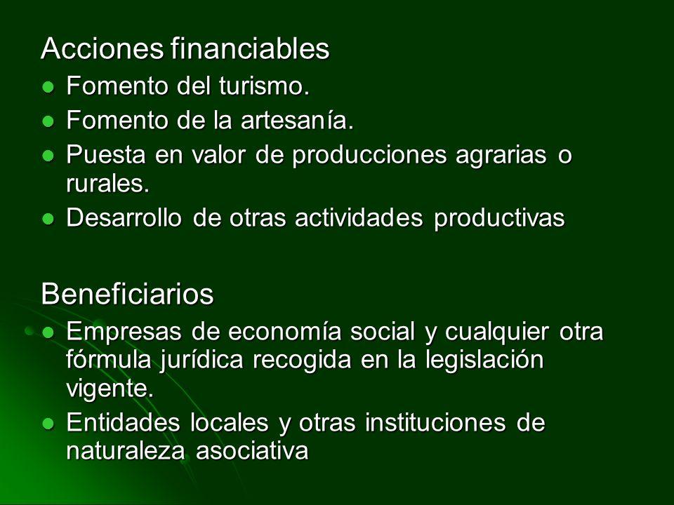Acciones financiables Fomento del turismo. Fomento del turismo. Fomento de la artesanía. Fomento de la artesanía. Puesta en valor de producciones agra