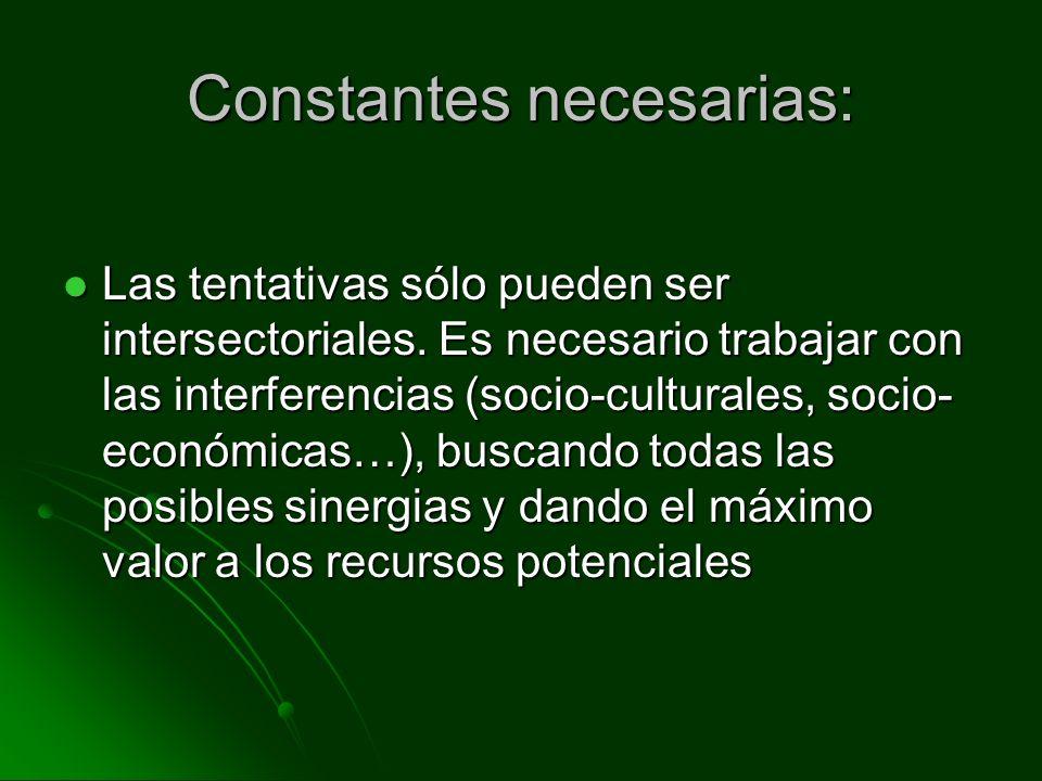 Constantes necesarias: Las tentativas sólo pueden ser intersectoriales. Es necesario trabajar con las interferencias (socio-culturales, socio- económi