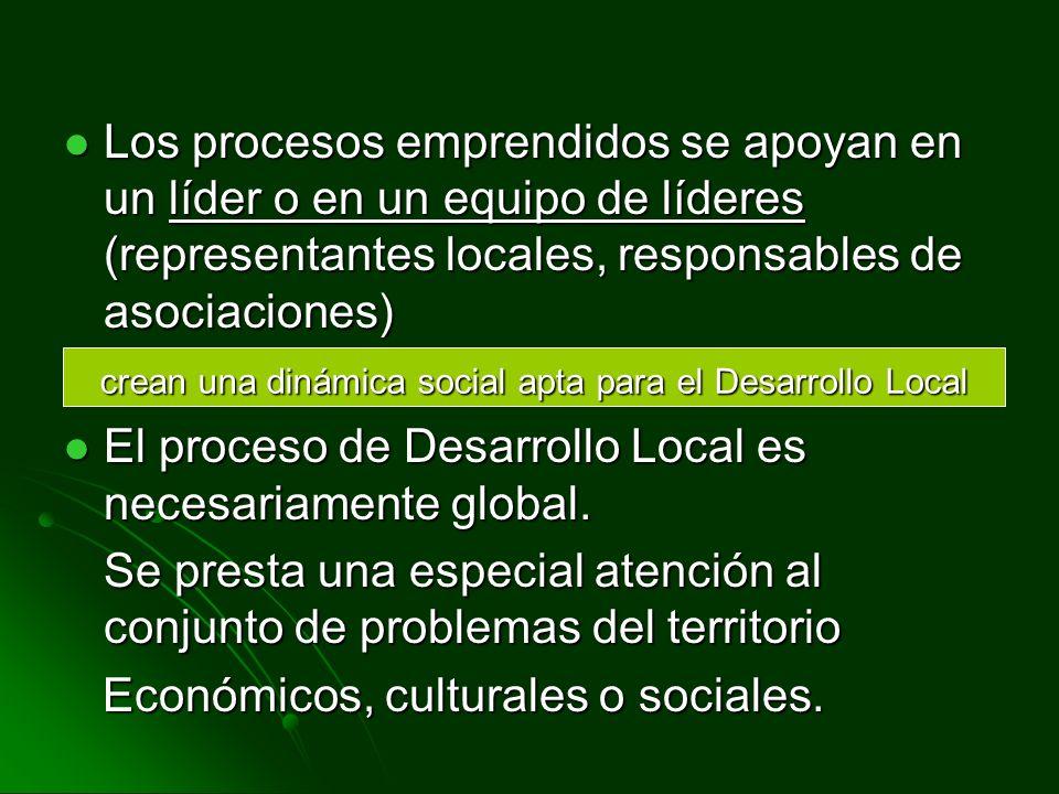 Los procesos emprendidos se apoyan en un líder o en un equipo de líderes (representantes locales, responsables de asociaciones) Los procesos emprendidos se apoyan en un líder o en un equipo de líderes (representantes locales, responsables de asociaciones) El proceso de Desarrollo Local es necesariamente global.