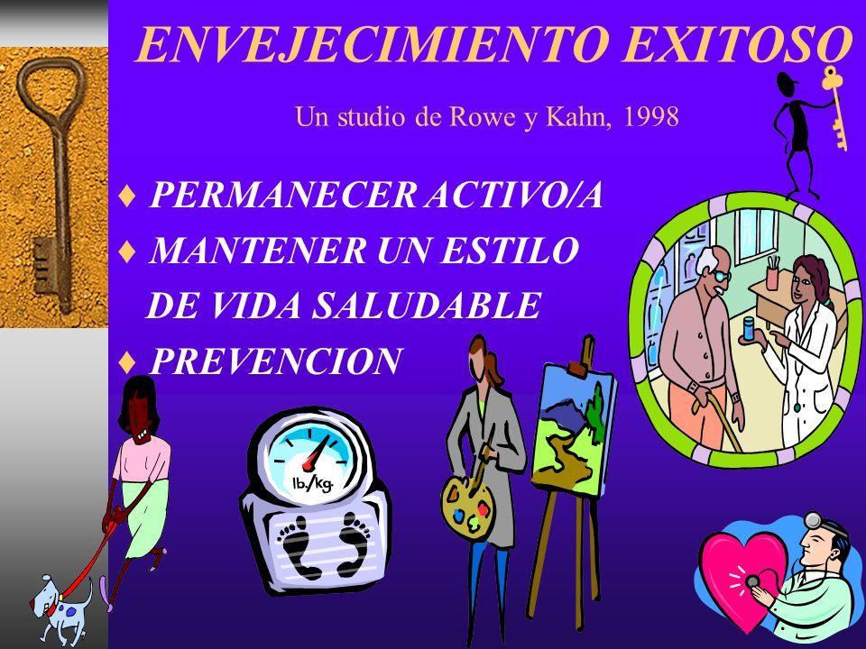 ENVEJECIMIENTO EXITOSO Un studio de Rowe y Kahn, 1998 PERMANECER ACTIVO/A MANTENER UN ESTILO DE VIDA SALUDABLE PREVENCION