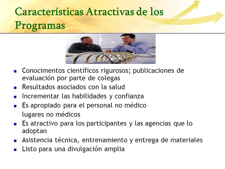 Características Atractivas de los Programas Conocimentos científicos rigurosos; publicaciones de evaluación por parte de colegas Resultados asociados