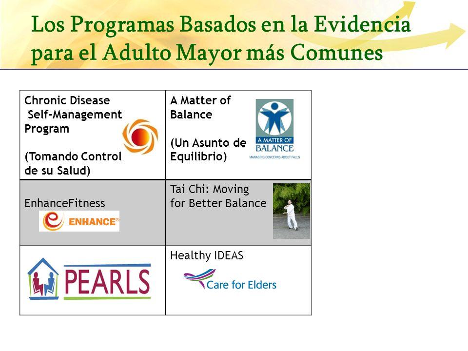 Los Programas Basados en la Evidencia para el Adulto Mayor más Comunes Chronic Disease Self-Management Program (Tomando Control de su Salud) A Matter