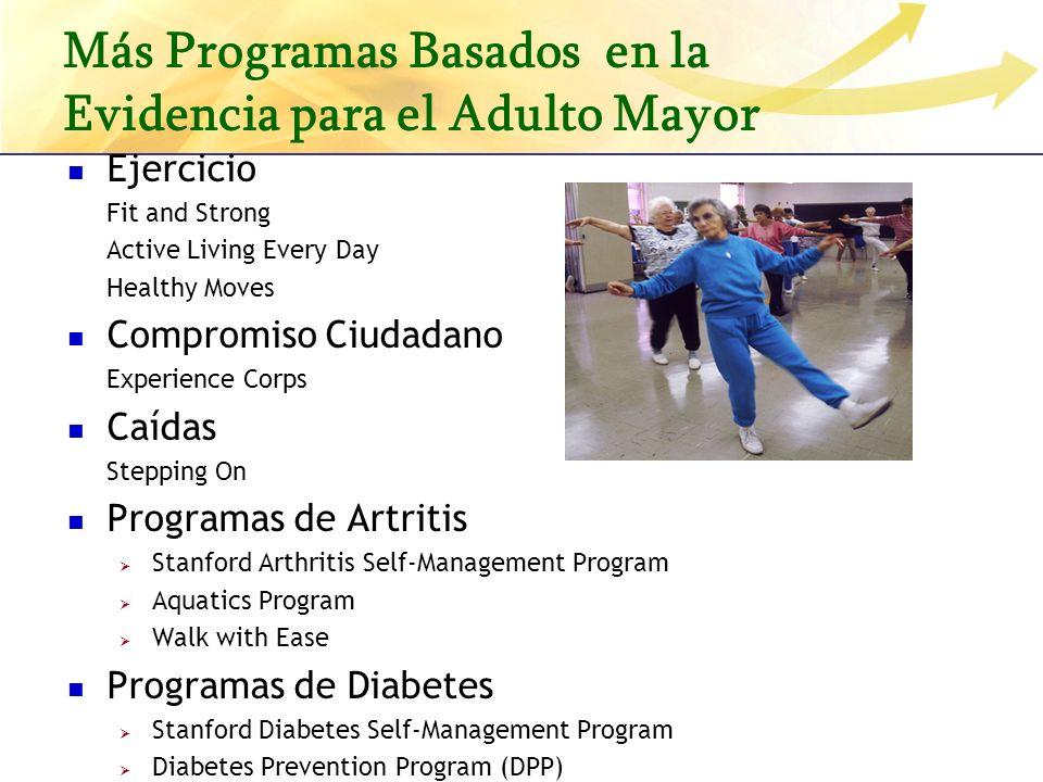 Más Programas Basados en la Evidencia para el Adulto Mayor Ejercicio Fit and Strong Active Living Every Day Healthy Moves Compromiso Ciudadano Experie