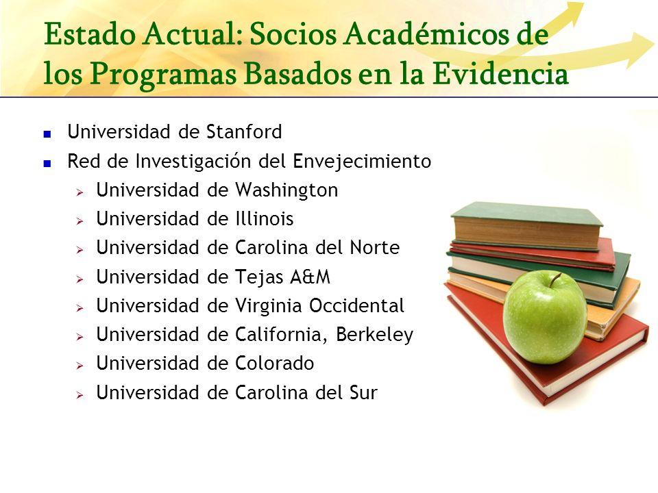 Estado Actual: Socios Académicos de los Programas Basados en la Evidencia Universidad de Stanford Red de Investigación del Envejecimiento Saludable: U