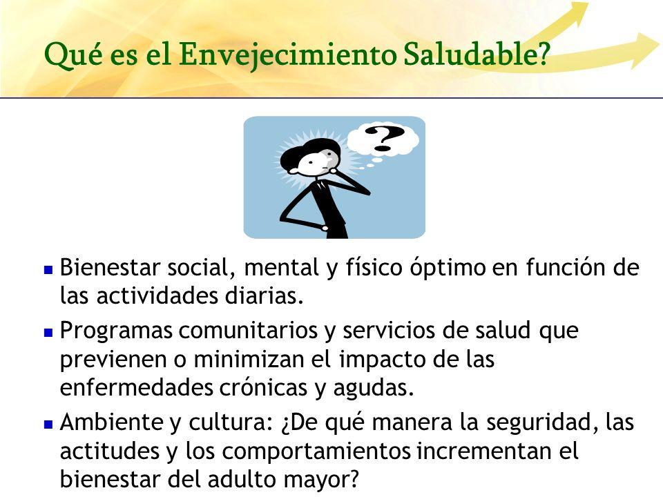 Qué es el Envejecimiento Saludable? Bienestar social, mental y físico óptimo en función de las actividades diarias. Programas comunitarios y servicios