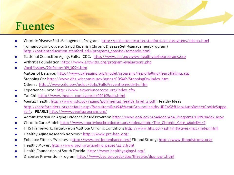 Fuentes Chronic Disease Self-Management Program http://patienteducation.stanford.edu/programs/cdsmp.htmlhttp://patienteducation.stanford.edu/programs/