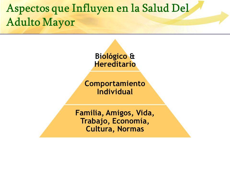 Biológico & Hereditario Comportamiento Individual Familia, Amigos, Vida, Trabajo, Economía, Cultura, Normas Aspectos que Influyen en la Salud Del Adul