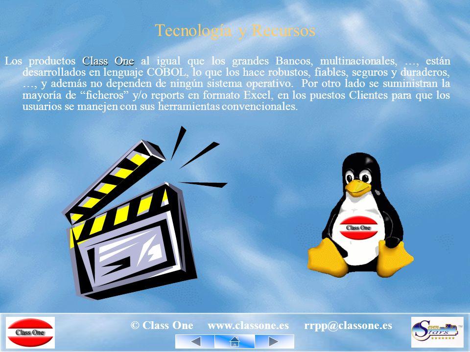 © Class One www.classone.es rrpp@classone.es Un producto Class One también Puede poseer REPLICADOS on line en la BASE de DATOS que UDS., deseen: ORACLE MySQL SQL SERVER … Multi-idioma Actualmente español, e inglés (TPV s en italiano).