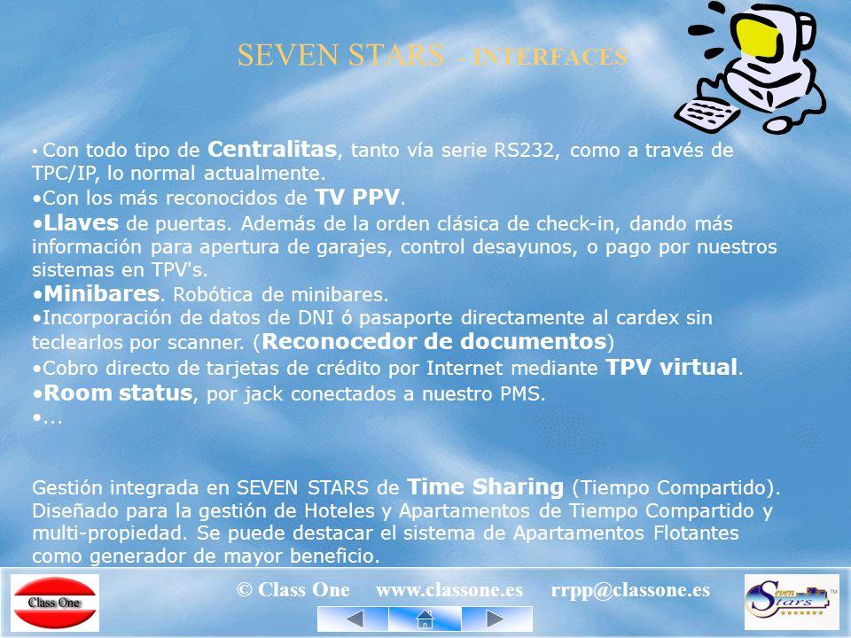 © Class One www.classone.es rrpp@classone.es 1.982 ALLAR 1.986 StarEcon Economato 1.992 primera versión de SEVEN STARS 1.993 StarRest 1.993 StarEcon TPVs – Servicios Especiales 1.995 segunda versión de SEVEN STARS 1.997 ALLAR con USALI.