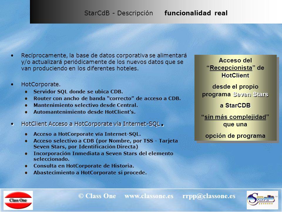 © Class One www.classone.es rrpp@classone.es StarCdB - Descripción funcionalidad real StarCdB.