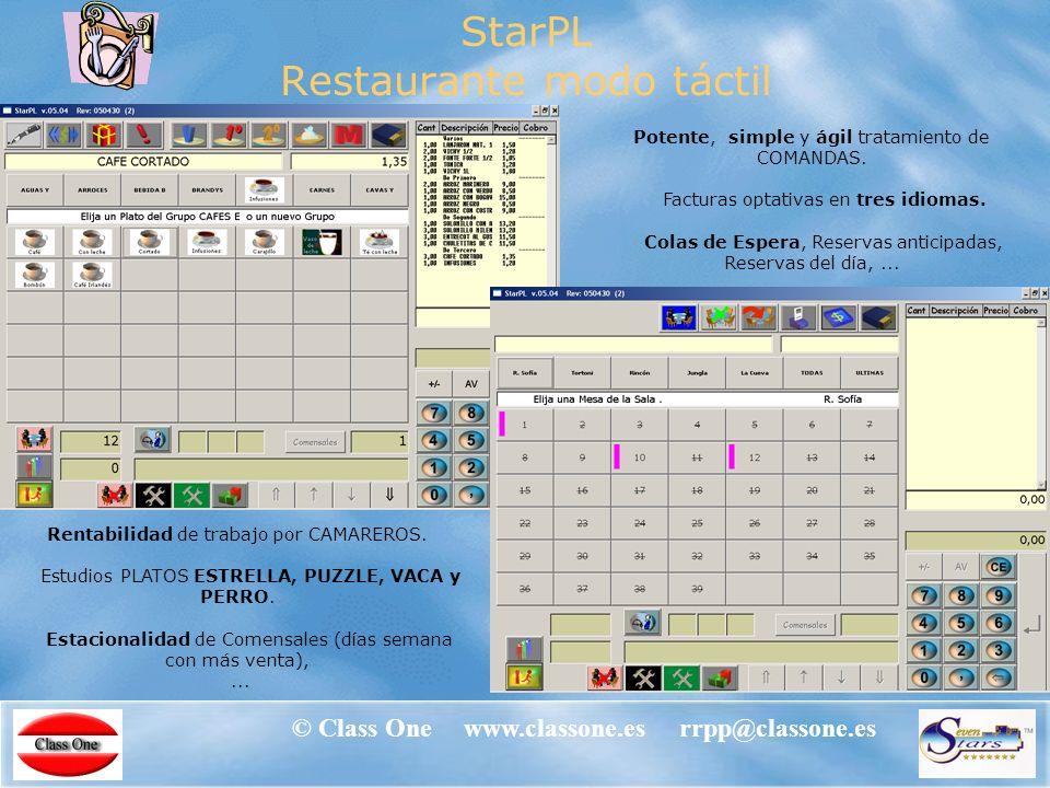 © Class One www.classone.es rrpp@classone.es StarPOS – TPVs © Class One www.classone.es rrpp@classone.es Restaurante Bar Cafetería Supermercado