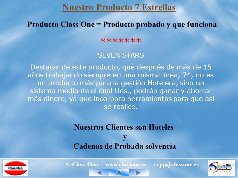 © Class One www.classone.es rrpp@classone.es Globalización, Class One International Su Hotel Class One ha sido la unica empresa europea de software hotelero presente en HITEC 2.003, 2.007.