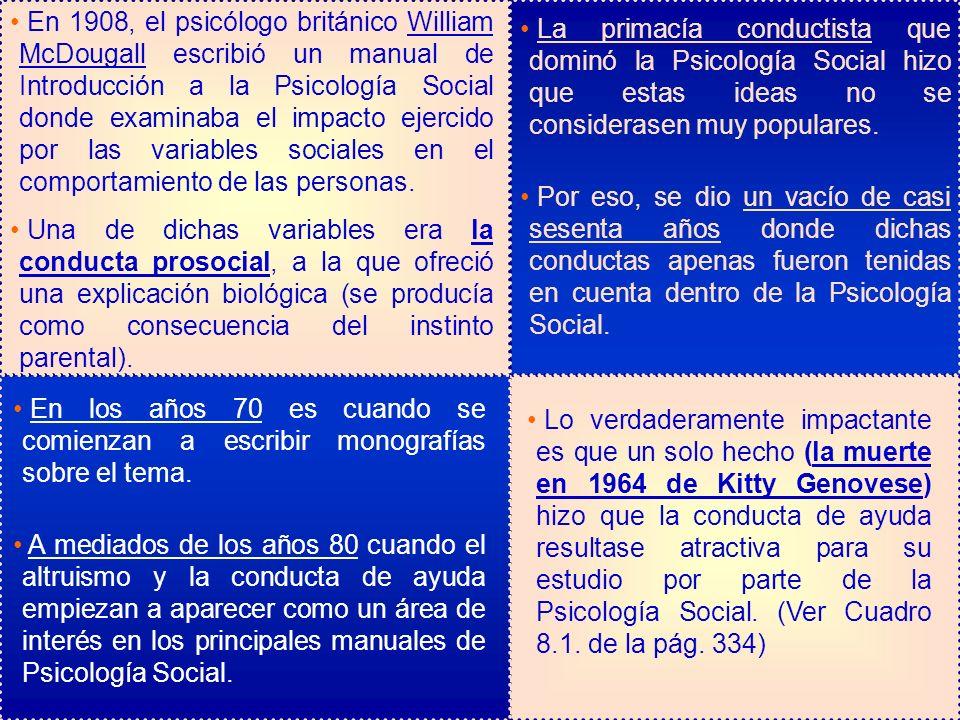 En 1908, el psicólogo británico William McDougall escribió un manual de Introducción a la Psicología Social donde examinaba el impacto ejercido por la