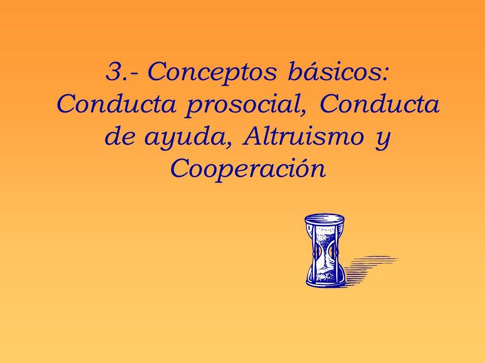 3.- Conceptos básicos: Conducta prosocial, Conducta de ayuda, Altruismo y Cooperación