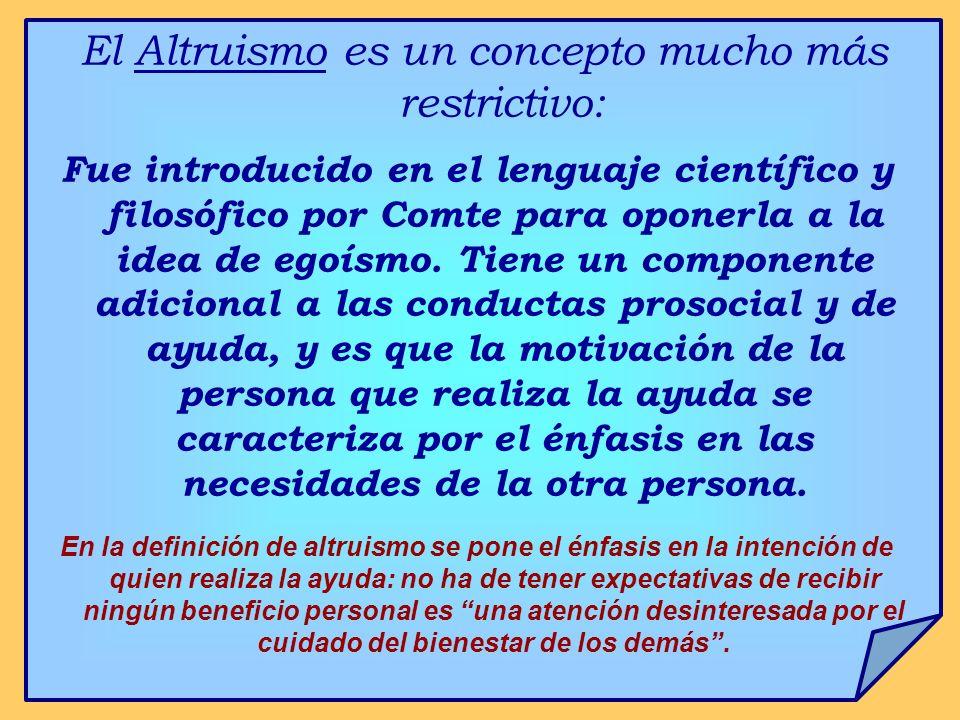 El Altruismo es un concepto mucho más restrictivo: Fue introducido en el lenguaje científico y filosófico por Comte para oponerla a la idea de egoísmo