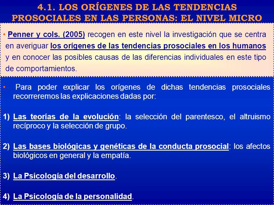 Penner y cols. (2005) recogen en este nivel la investigación que se centra en averiguar los orígenes de las tendencias prosociales en los humanos y en