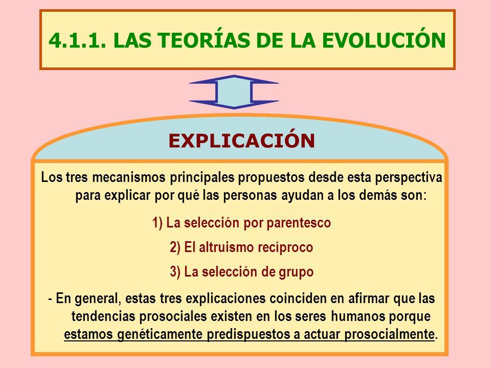 4.1.1. LAS TEORÍAS DE LA EVOLUCIÓN Los tres mecanismos principales propuestos desde esta perspectiva para explicar por qué las personas ayudan a los d