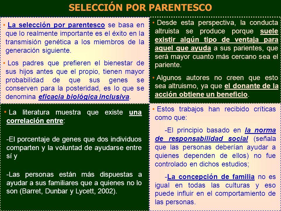 La selección por parentesco se basa en que lo realmente importante es el éxito en la transmisión genética a los miembros de la generación siguiente. L