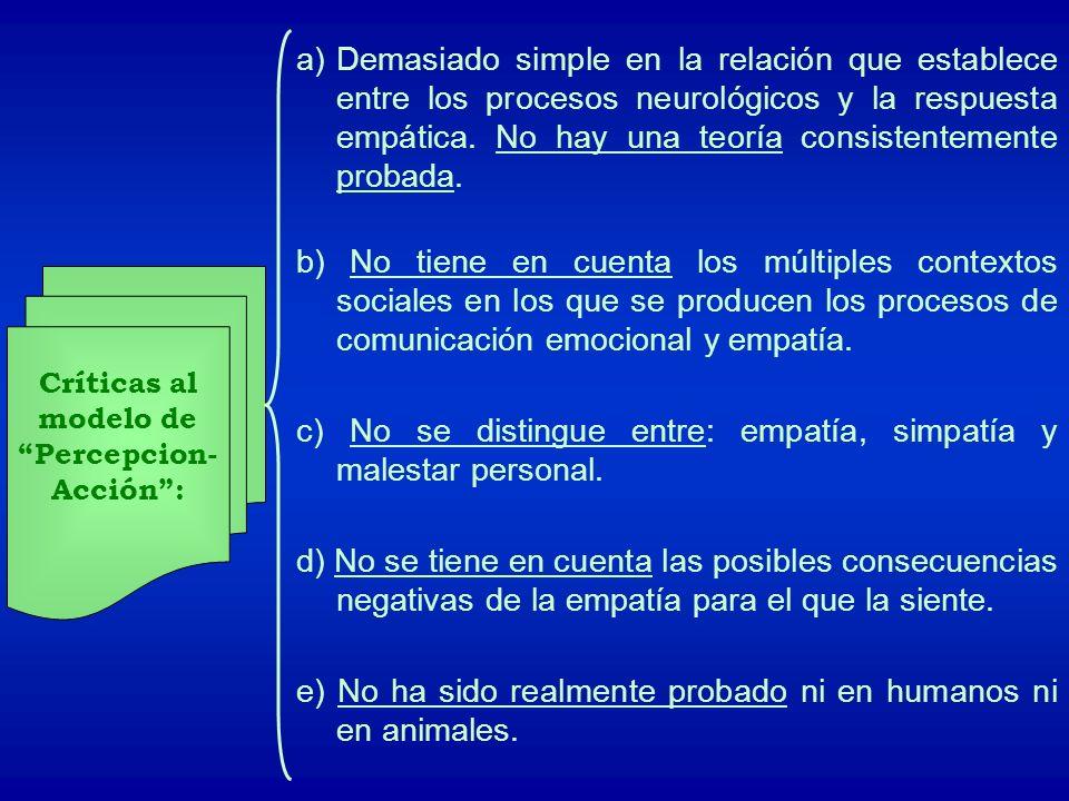 Críticas al modelo de Percepcion- Acción: a)Demasiado simple en la relación que establece entre los procesos neurológicos y la respuesta empática. No