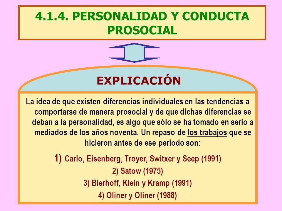 4.1.4. PERSONALIDAD Y CONDUCTA PROSOCIAL La idea de que existen diferencias individuales en las tendencias a comportarse de manera prosocial y de que