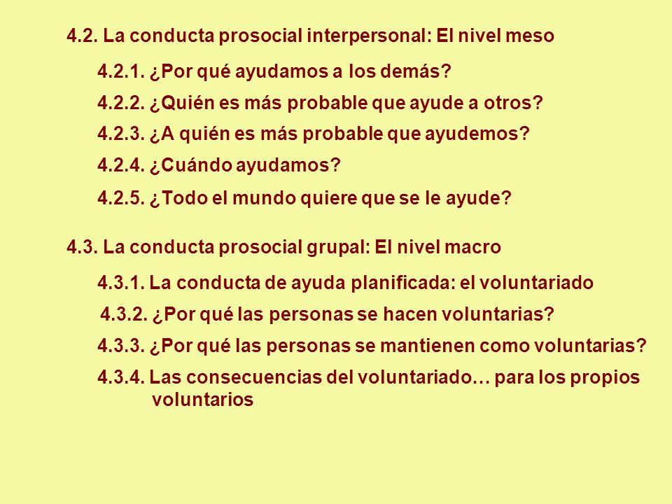 4.2. La conducta prosocial interpersonal: El nivel meso 4.2.1. ¿Por qué ayudamos a los demás? 4.2.2. ¿Quién es más probable que ayude a otros? 4.2.3.