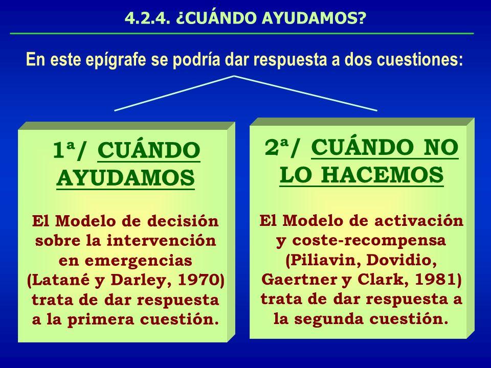 4.2.4. ¿CUÁNDO AYUDAMOS? 1ª/ CUÁNDO AYUDAMOS El Modelo de decisión sobre la intervención en emergencias (Latané y Darley, 1970) trata de dar respuesta