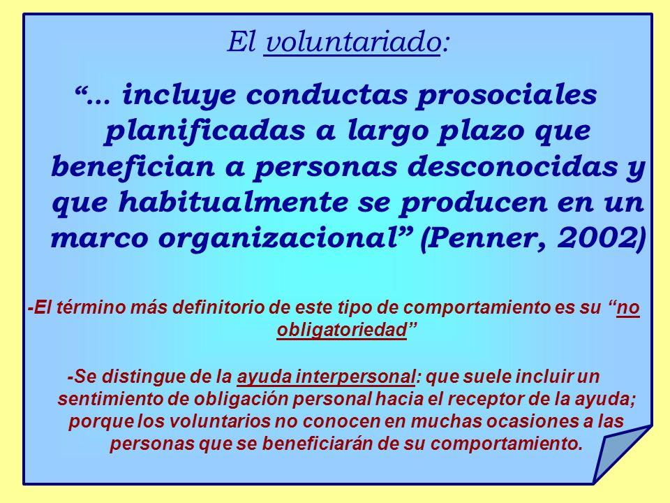El voluntariado: … incluye conductas prosociales planificadas a largo plazo que benefician a personas desconocidas y que habitualmente se producen en