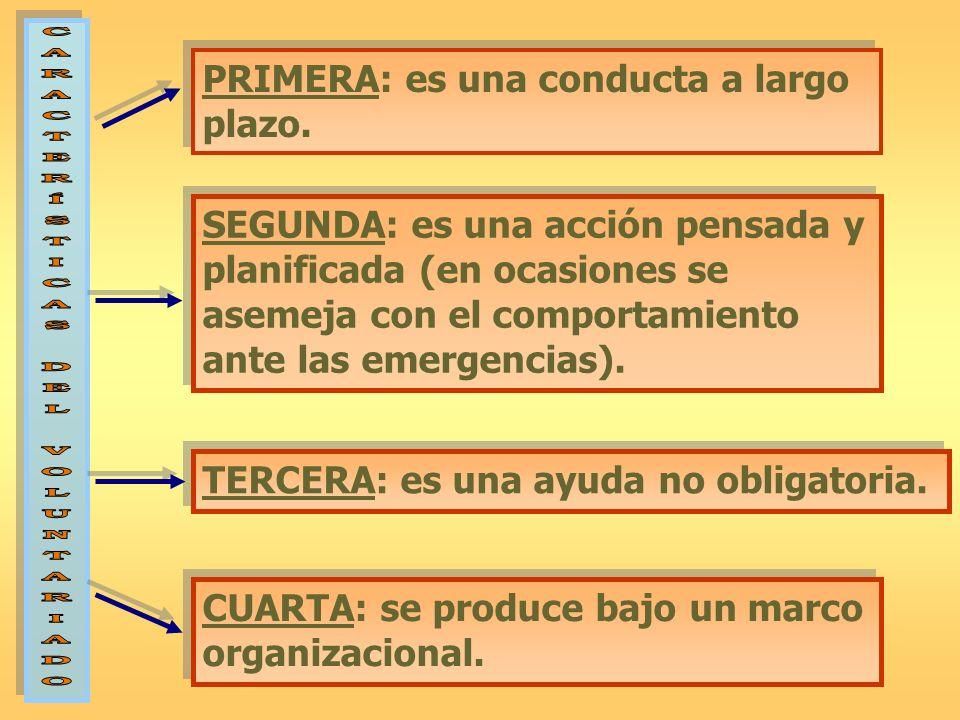 PRIMERA: es una conducta a largo plazo. TERCERA: es una ayuda no obligatoria. CUARTA: se produce bajo un marco organizacional. SEGUNDA: es una acción