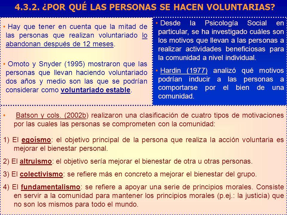 Hay que tener en cuenta que la mitad de las personas que realizan voluntariado lo abandonan después de 12 meses. Omoto y Snyder (1995) mostraron que l
