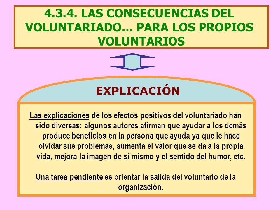 4.3.4. LAS CONSECUENCIAS DEL VOLUNTARIADO… PARA LOS PROPIOS VOLUNTARIOS Las explicaciones de los efectos positivos del voluntariado han sido diversas: