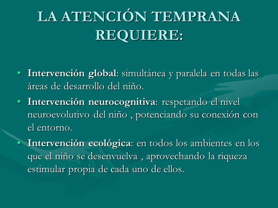 LA ATENCIÓN TEMPRANA REQUIERE: Intervención global: simultánea y paralela en todas las áreas de desarrollo del niño.Intervención global: simultánea y
