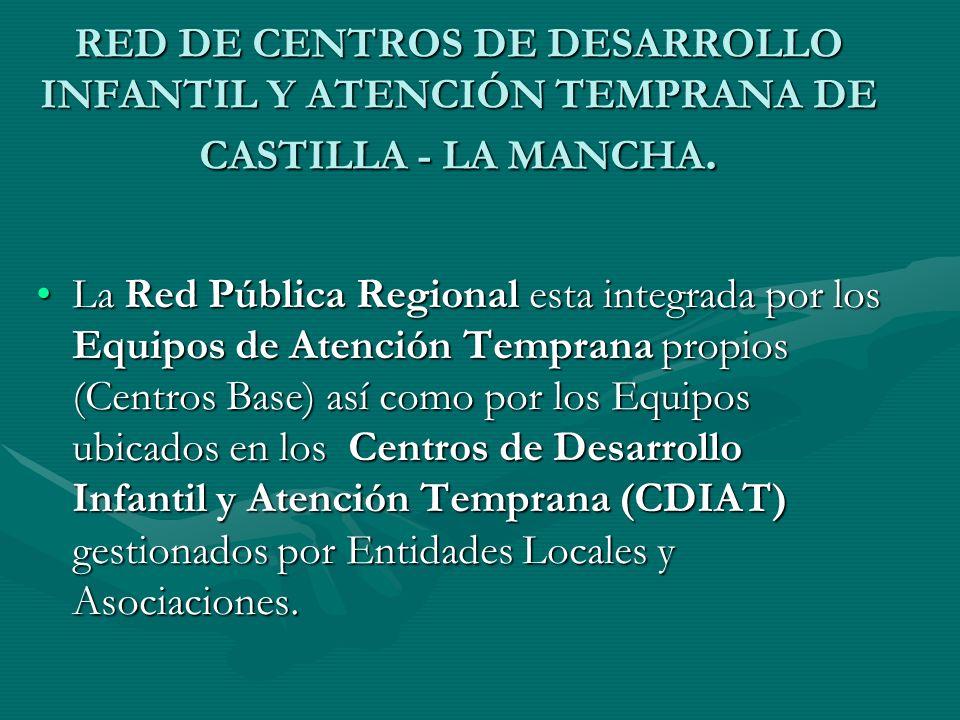 RED DE CENTROS DE DESARROLLO INFANTIL Y ATENCIÓN TEMPRANA DE CASTILLA - LA MANCHA. La Red Pública Regional esta integrada por los Equipos de Atención