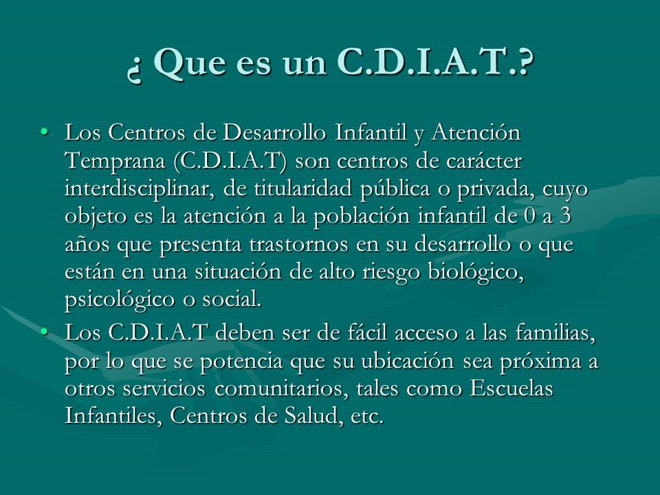 ¿ Que es un C.D.I.A.T.? Los Centros de Desarrollo Infantil y Atención Temprana (C.D.I.A.T) son centros de carácter interdisciplinar, de titularidad pú