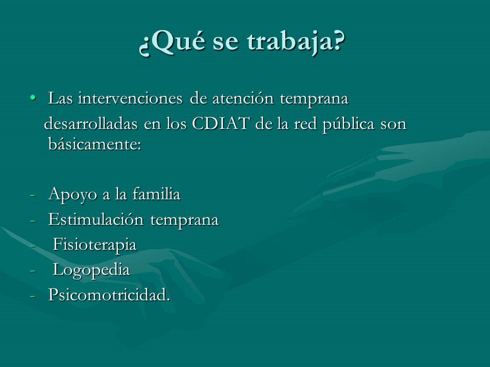¿Qué se trabaja? Las intervenciones de atención temprana desarrolladas en los CDIAT de la red pública son básicamente: -A-A-A-Apoyo a la familia -E-E-