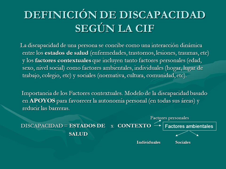 DEFINICIÓN DE DISCAPACIDAD SEGÚN LA CIF La discapacidad de una persona se concibe como una interacción dinámica entre los estados de salud (enfermedad