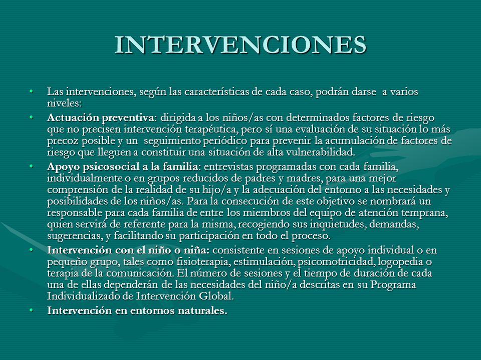 INTERVENCIONES Las intervenciones, según las características de cada caso, podrán darse a varios niveles:Las intervenciones, según las características