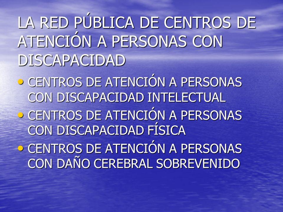 LA RED PÚBLICA DE CENTROS DE ATENCIÓN A PERSONAS CON DISCAPACIDAD CENTROS DE ATENCIÓN A PERSONAS CON DISCAPACIDAD INTELECTUAL CENTROS DE ATENCIÓN A PE