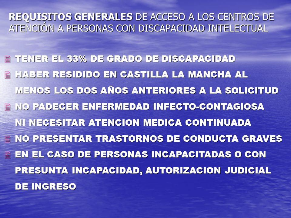 TENER EL 33% DE GRADO DE DISCAPACIDAD TENER EL 33% DE GRADO DE DISCAPACIDAD HABER RESIDIDO EN CASTILLA LA MANCHA AL HABER RESIDIDO EN CASTILLA LA MANC