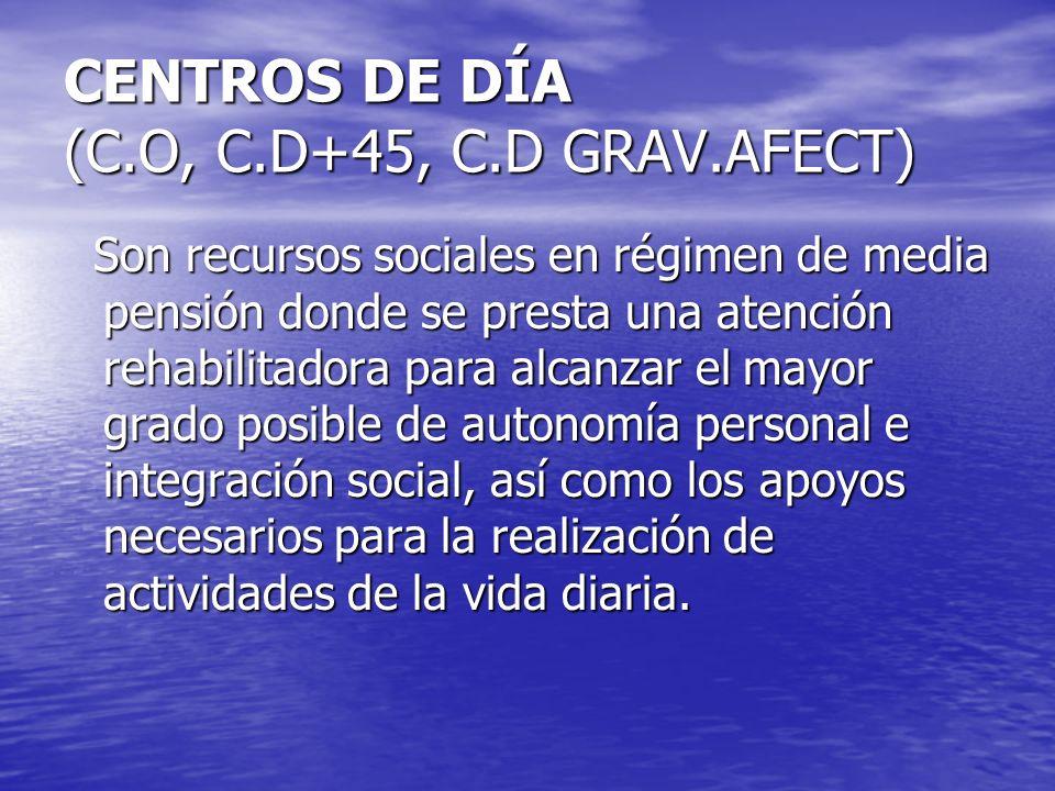 CENTROS DE DÍA (C.O, C.D+45, C.D GRAV.AFECT) Son recursos sociales en régimen de media pensión donde se presta una atención rehabilitadora para alcanz