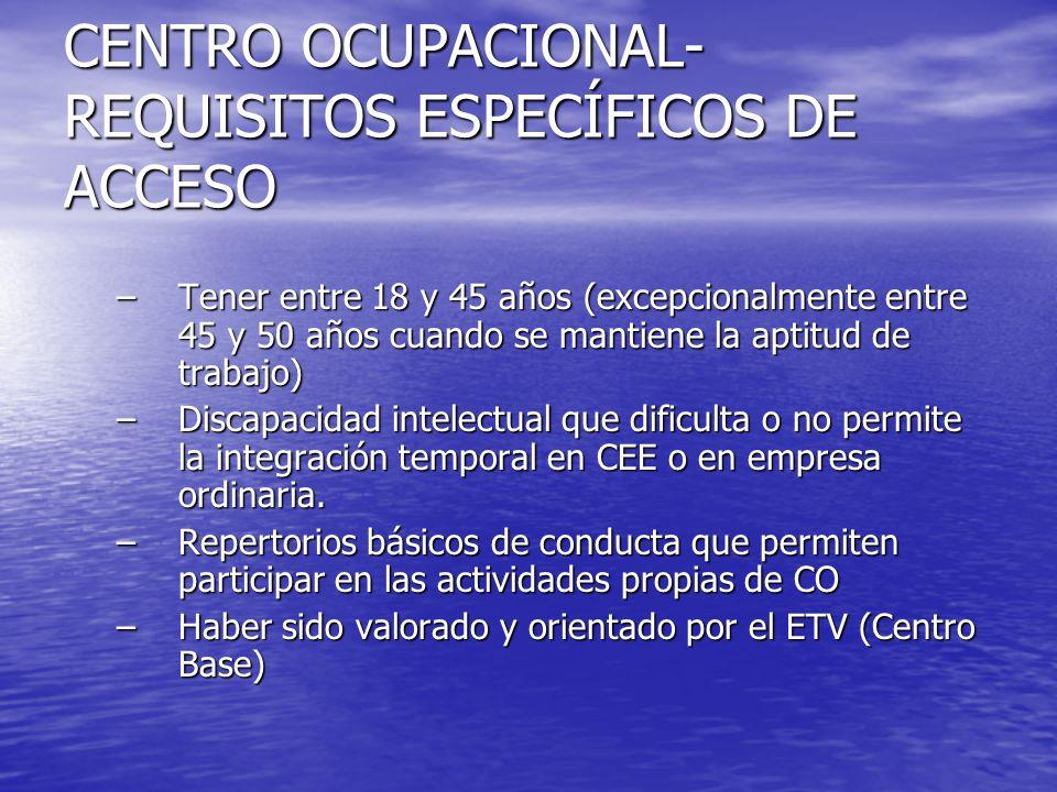 CENTRO OCUPACIONAL- REQUISITOS ESPECÍFICOS DE ACCESO –Tener entre 18 y 45 años (excepcionalmente entre 45 y 50 años cuando se mantiene la aptitud de t