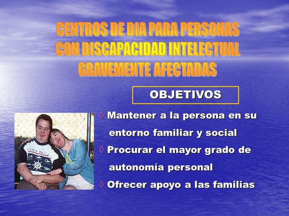 OBJETIVOS Mantener a la persona en su Mantener a la persona en su entorno familiar y social entorno familiar y social Procurar el mayor grado de Procu