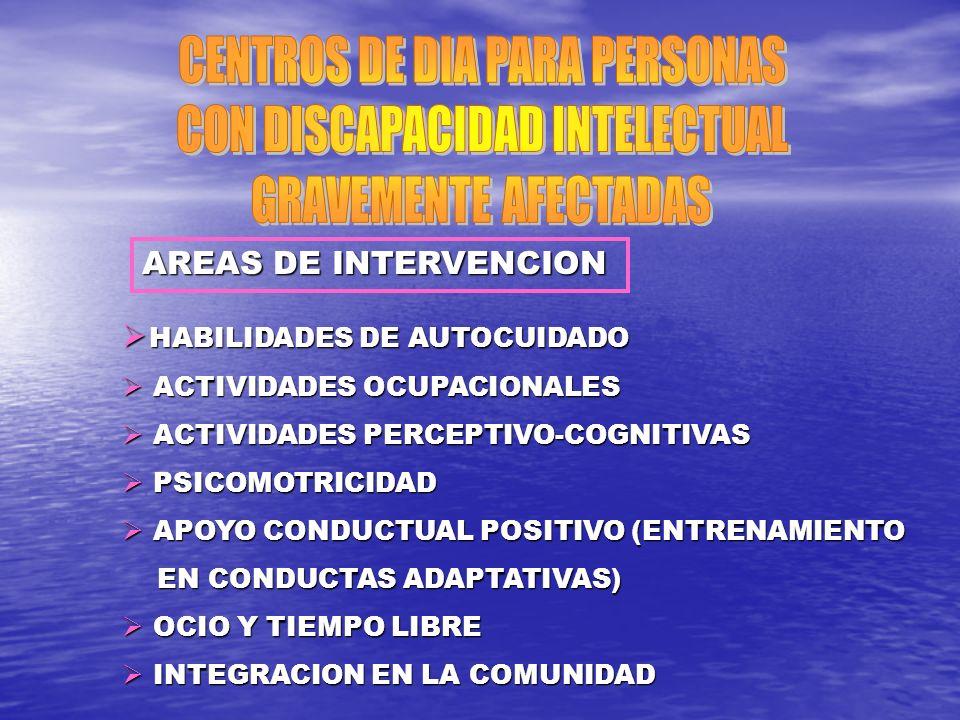 AREAS DE INTERVENCION HABILIDADES DE AUTOCUIDADO HABILIDADES DE AUTOCUIDADO ACTIVIDADES OCUPACIONALES ACTIVIDADES OCUPACIONALES ACTIVIDADES PERCEPTIVO