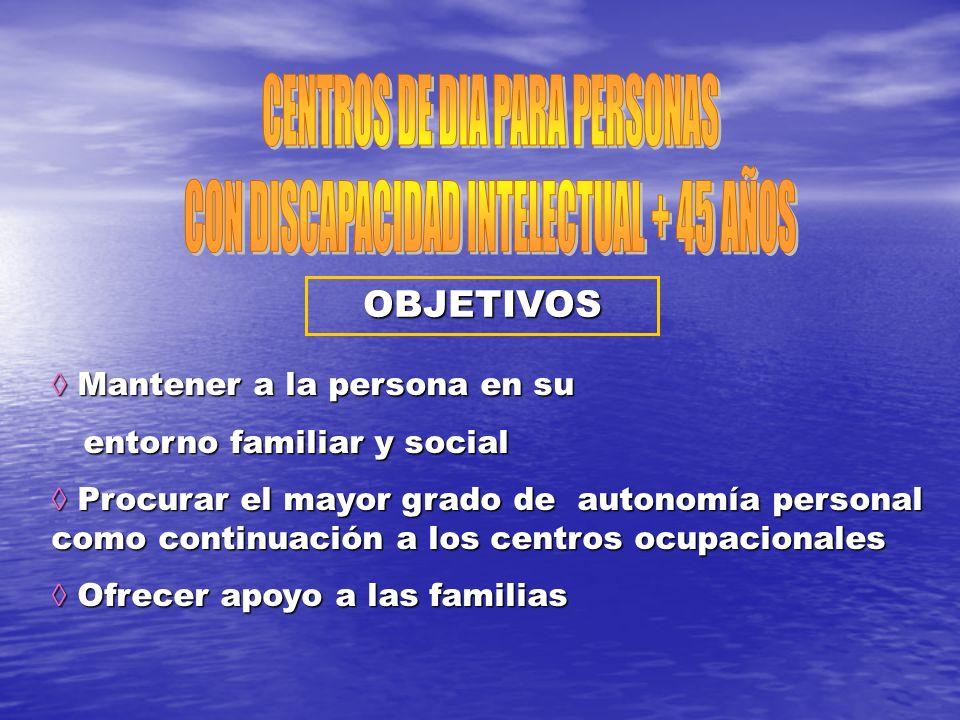 OBJETIVOS Mantener a la persona en su Mantener a la persona en su entorno familiar y social entorno familiar y social Procurar el mayor grado de auton