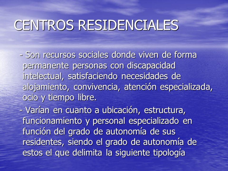 CENTROS RESIDENCIALES - Son recursos sociales donde viven de forma permanente personas con discapacidad intelectual, satisfaciendo necesidades de aloj