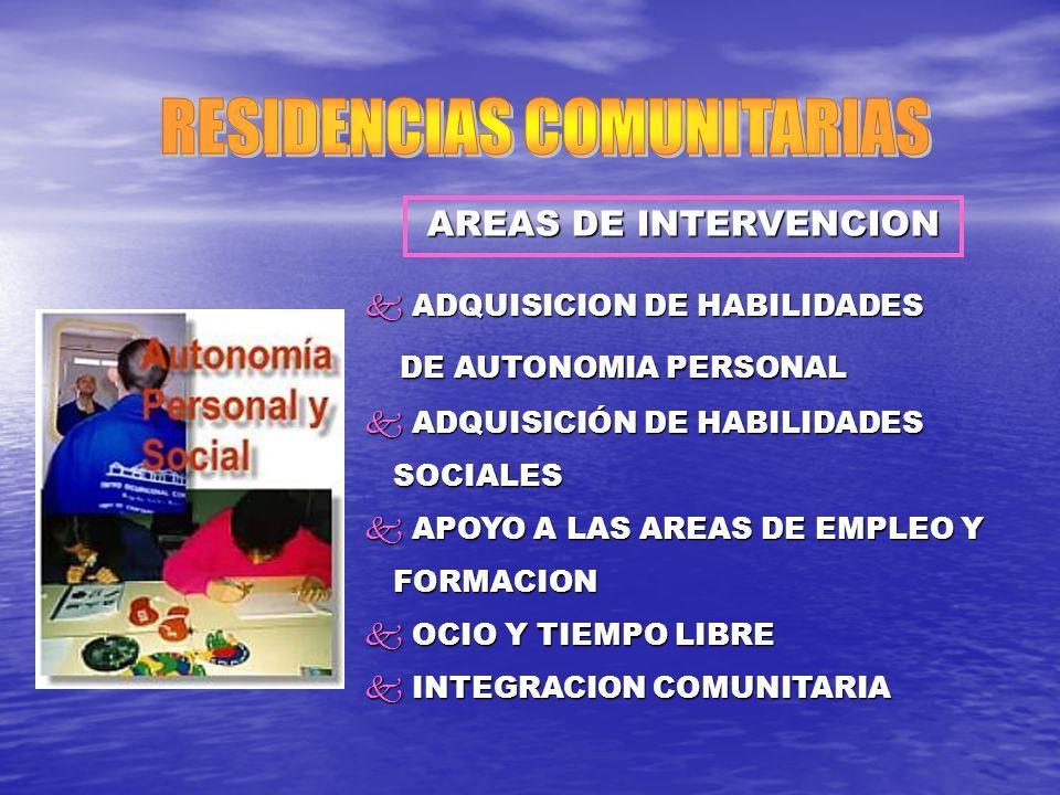AREAS DE INTERVENCION k ADQUISICION DE HABILIDADES DE AUTONOMIA PERSONAL DE AUTONOMIA PERSONAL k ADQUISICIÓN DE HABILIDADES SOCIALES SOCIALES k APOYO