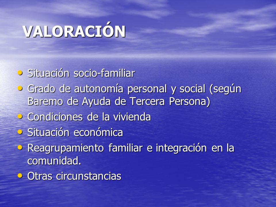 VALORACIÓN Situación socio-familiar Situación socio-familiar Grado de autonomía personal y social (según Baremo de Ayuda de Tercera Persona) Grado de