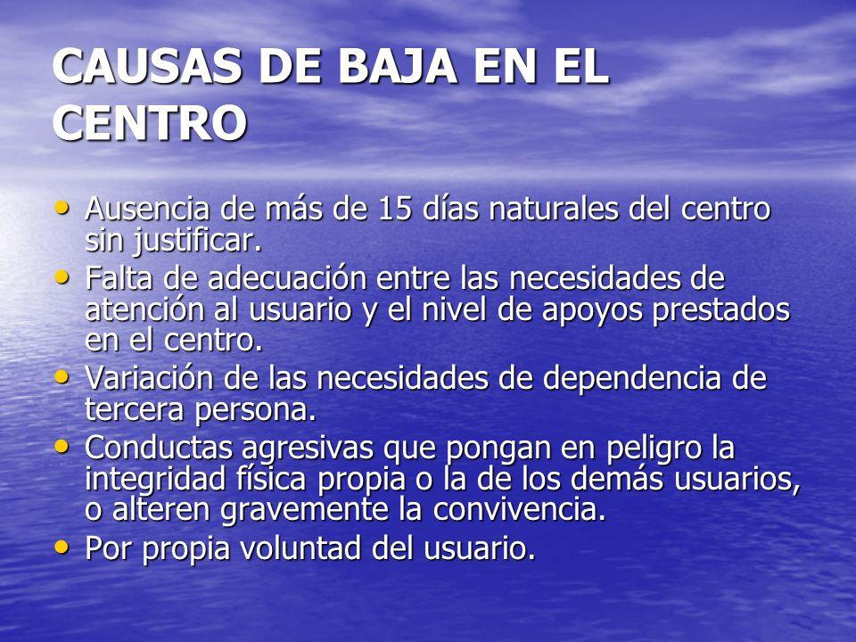 CAUSAS DE BAJA EN EL CENTRO Ausencia de más de 15 días naturales del centro sin justificar. Ausencia de más de 15 días naturales del centro sin justif